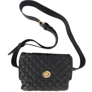 New York & Company Quilted Vegan Leather Belt Bag